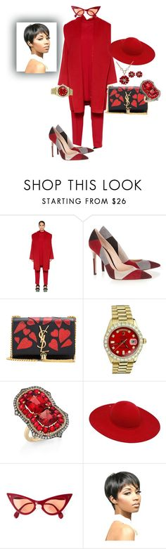 """""""I'm getting the holiday spirit"""" by blujay1126 ❤ liked on Polyvore featuring Marina Rinaldi, Gianvito Rossi, Yves Saint Laurent, Rolex, Ivy, Ilariusss and WithChic"""