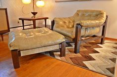 Mid Century Modern Percival Lafer Style Sling Lounge Chair & Ottoman