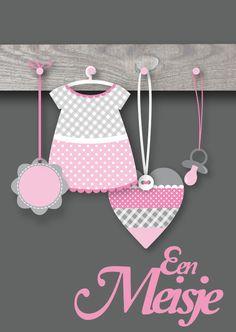 Een mooie en lieve felicitatiekaart met een kapstokje voor de geboorte van een meisje!