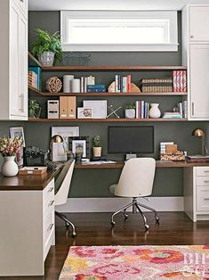 If you have the room, incorporate separate work stations into your office. Keep your computer equipment in one area to finish work, and make an area for completing family tasks like bills at another. Here, the two work spaces are connected by floating shelves that wrap around the corner. The desks are close enough so the homeowner can move seamlessly from one space to another.