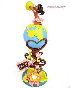 Save the earth cake Pretty Cakes, Beautiful Cakes, Amazing Cakes, Cupcakes, Cupcake Cakes, Fondant Toppers, Fondant Cakes, Earth Cake, Cool Cake Designs