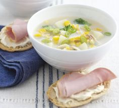 Haddock & sweetcorn soup recipe, Make this creamy soup more substantial by serving with ham & mustard tartines Sweetcorn Soup Recipes, Chicken And Sweetcorn Soup, Thai Pumpkin Soup, Pea And Ham Soup, Sugar Free Diet, Easter Dinner Recipes, Bbc Good Food Recipes, Vegetarian Recipes