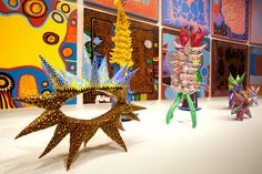 "Sculptures and paintings by Yayoi Kusama from ""My Eternal Soul"" (begun in 2009). Credit: Tyrone Turner for The New York Times"