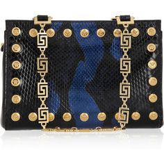 Versace Two-tone studded python shoulder bag ($2,745) ❤ liked on Polyvore