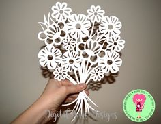 Flower Bouquet Paper Cut Template, SVG / DXF Cutting File for Cricut / Silhouette & PDF Printable For Hand Cutting, Download, Commercial Use by DigitalGems on Etsy Paper Lace, Paper Flowers, Royal Icing Templates, Paper Cutting Patterns, Paper Cut Design, Stained Glass Patterns, Kirigami, Printable Paper, Card Making