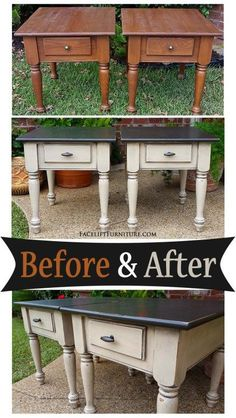 Take vintage solid wood side tables and with a Fresh coat of paint they look brand new again ! DIY before and after painted Matching end tables in distressed Black & Oatmeal - Before and After from Facelift Furniture Refurbished Furniture, Repurposed Furniture, Furniture Makeover, Vintage Furniture, Diy Furniture Repurpose, Upcycled Furniture Before And After, Bedroom Furniture Redo, Redoing Furniture, How To Distress Furniture