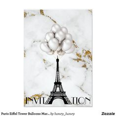 Paris Eiffel Tower Balloons Marble Gold 9 Cm X 13 Cm Invitation Card