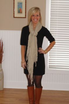 Cognac/Caramel Colored Boots + Sheer Black Tights + Black Dress + Taupe/Wheat Long Scarf