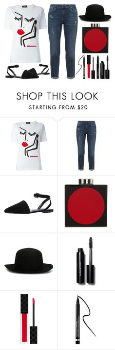 """""""Street Style Chic - DSQUARED2 T-Shirt"""" by latoyacl ❤ liked on Polyvore featuring Dsquared2, Les Petits Joueurs, ISABEL BENENATO, Bobbi Brown Cosmetics, Gucci, Clinique and Lancôme"""