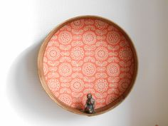 Large upcycled wooden sieve, wall shelf design vintage wallpaper by Birdycoconut on Etsy