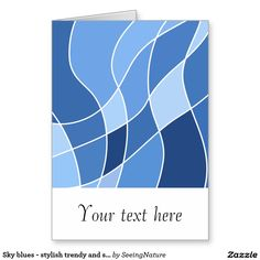 Sky blues - stylish trendy and simple design greeting card Blue Gift, Simple Designs, Postcards, Personalized Gifts, Blues, Greeting Cards, Sky, Stylish, Simple Drawings
