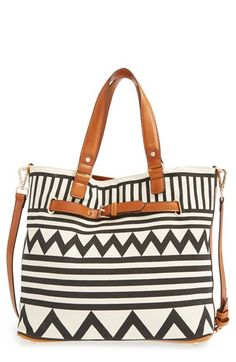 Would love to paint and sew a tote like this. Could be done for under $10 I'm sure vs. this $60 tote at nordstroms.  Sole+Society+Print+Tote+available+at+#Nordstrom