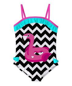 This Black & White Chevron Flamingo One-Piece - Toddler & Girls is perfect! #zulilyfinds