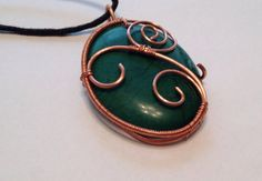 WIRE WRAP NECKLACE/ Copper Wire Pendant/ by ShiningCrystals, $28.00