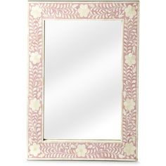 Calista Pink Wall Mirror (11.565 CZK) ❤ liked on Polyvore featuring home, home decor, mirrors, flower stem, pink home decor, pink mirror, leaf mirror and flower mirror
