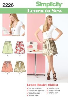 The Simplicity Learn to Sew Pattern Collection has easy sewing directions, perfect for beginners. Pattern 2226 features a Misses' skirt in two lengths and tie belt.