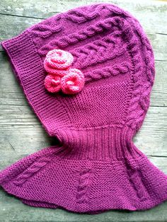 Delicious purple color with pink roses. Thats what a little girl need this winter. Sophisticated yet fun and girly, with cable motifs and knitted