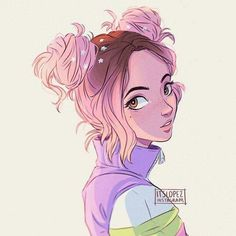 Portrait Illustration *kinda* self portrait! lol pink space buns are life ; Pretty Art, Cute Art, Character Design Inspiration, Character Design Girl, Character Drawing, Cartoon Drawings, Girl Drawings, Cartoon Characters Sketch, Cartoon Art Styles