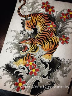japanese tattoos and meanings Japanese Tiger Tattoo, Japanese Tattoo Designs, Japanese Sleeve Tattoos, Tatuajes Irezumi, Irezumi Tattoos, Leg Tattoos, Dragon Tattoos, Traditional Tiger Tattoo, Traditional Japanese Tattoos