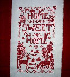 punto croce - quadretto natalizio Crossstitch, Little Things, Sweet Home, Cross Stitch, House Beautiful, Cross Stitches