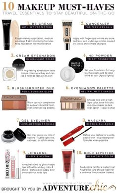 10 Makeup Must-Haves for Travel. - Love everything except the Gel eyeliner as this requires precision application and brush.