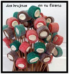 Jardinera dulce. Regalo dulce cumple. Flores lenguas de regaliz y nata. Decoración floral chuches