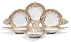 A set of six oyster dishes from the Grand Duke Alexander Alexandrovich service, Imperial porcelain manufactory, period of Alexander III (1881-1894)