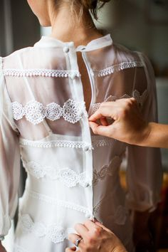 white, blouse, sheer, lace, button-down back