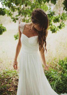 Gorgeous chiffon sweetheart floor length outside/beach wedding dress