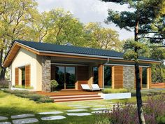House Makeovers, Ranch Farm, Hip Roof, Forest House, Small House Design, Stone Houses, Home Design Plans, Facade House, Building Plans