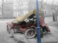 Colorized vintage photo of a car accident in Washington circa 1917