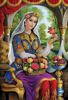 A beautiful lady with a flower. Fantasy Kunst, Fantasy Art, Figurative Kunst, Iranian Art, Iranian Women, Art Asiatique, Islamic Art Calligraphy, Beautiful Paintings, Female Art