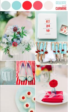 red and aqua wedding (accent colors are so pretty!)