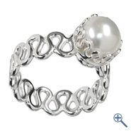 Design-Ring Perle weiß, Gr. 57 | Großhandel Heilsteine, Mineralien-Handel Edelsteine, Großhändler Silberschmuck, Perlen Trommelsteine