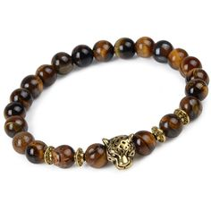 Leopard Head Natural Stone Beaded Bracelet [4 Variations]