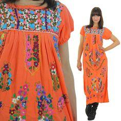 Oaxacan Dress 70s Hippie Dress Embroidered Dress Boho maxi Dress Mexican Dress Festival Dress Gypsy Dress Sun Dress Peasant Dress by SHABBYBABEVINTAGE on Etsy