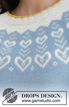 Dear to my Heart Sweater pattern by DROPS design Drops Design, Nordic Pullover, Nordic Sweater, Knitting Patterns Free, Knit Patterns, Free Knitting, Magazine Drops, Knitted Heart, In Natura