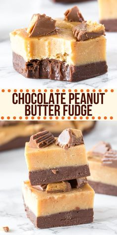 This chocolate peanut butter fudge tastes incredible and is made in the microwave in only a few minutes! It has a layer of creamy chocolate fudge on the bottom, salty-sweet peanut butter fudge on top, and tastes like peanut butter cup! Chocolate Peanut Butter Squares, Peanut Butter Oatmeal Bars, Best Peanut Butter, Butter Chocolate Chip Cookies, Peanut Butter Desserts, Peanut Butter Chips, Köstliche Desserts, Chocolate Chip Oatmeal, Delicious Desserts
