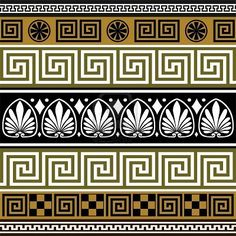 Set Of Geometric Vector Borders Stock Vector - Illustration of antique, decoration: 8439824 Greek Pattern, Pattern Art, Greece Art, Vector Border, Ancient Greek Art, Ancient Greece, Greek Design, Greek Key, Floral Border