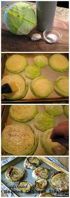 Garlic Rubbed Roasted Cabbage Steaks Recipe - Healthy Food for Fitness