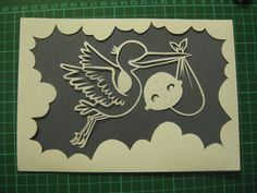 Stork and Baby  Handcut Paper Art  can by TreefrogsTrinkets, £19.99