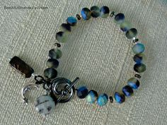 Iridescent Deep Purple Czech Glass Faceted Rondelles with Black Freshwater Pearl, White Agate and Crescent Moon Charm