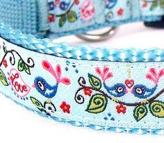 Love Birds Dog Collar / Aqua Blue / Valentine's by daydogdesigns, $17.50
