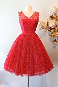 Vintage 1950's Lace Dress  Vintage 50s Rose Pink by xtabayvintage