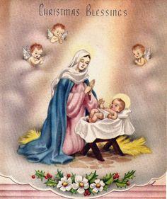 Vintage Christmas Card Baby Jesus Mary Angels Nativity. $4.00, via Etsy.