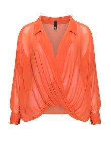Manon Baptiste Draped chiffon blouse in Orange