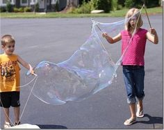 DIY a giant bubble wand. |  Activities Under $10 That Will Keep Your Kids Busy All Summer.  Instructions: http://funcraftskids.com/diy-giant-bubble-recipe/