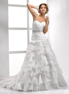 A-line Sweetheart Ruched Bodice Beaded Sash Tiered Skirt Organza Wedding Dress-wa0234, $269.95