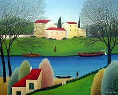 By the Riverbank by Cesare Novi - GINA Gallery of International Naive Art