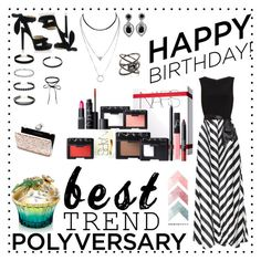 """""""Celebrate Our 10th Polyversary!"""" by ly-alien ❤ liked on Polyvore featuring Gina Bacconi, Jimmy Choo, Miss Selfridge, Ciner, Eva Fehren, House of Sillage, NARS Cosmetics, polyversary and contestentry"""